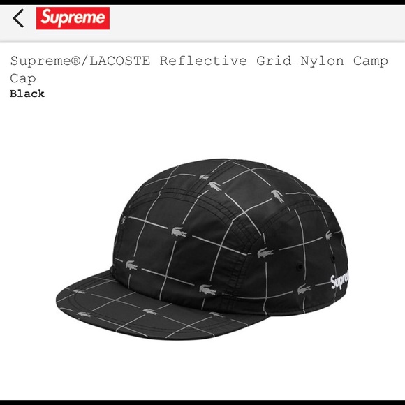 Supreme LACOSTE Reflective Grid Nylon Camp Cap 5cd9349368a